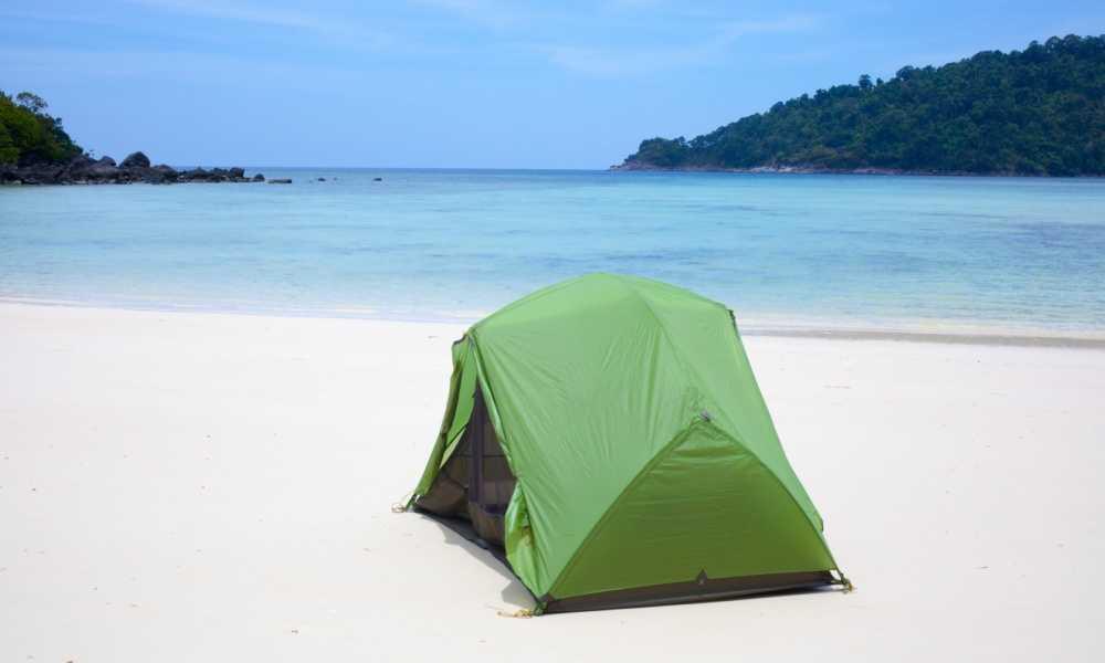 tent on beech