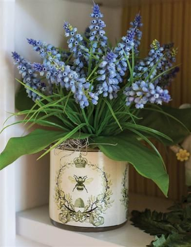 vase of bluebells